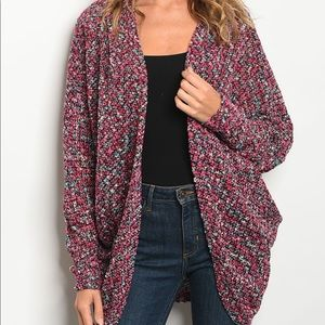 Sweaters - Fuchsia Open Knit Cardigan